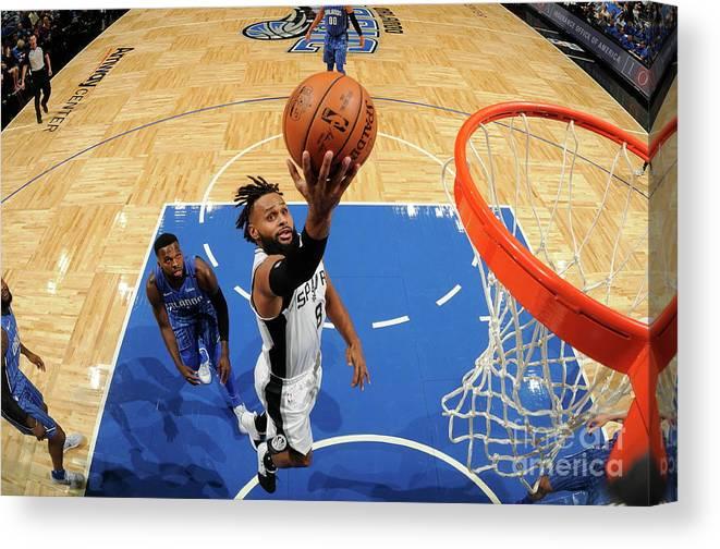 Nba Pro Basketball Canvas Print featuring the photograph San Antonio Spurs V Orlando Magic by Fernando Medina