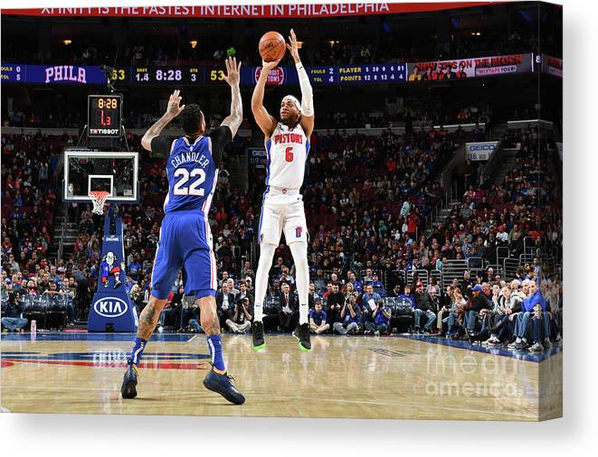 Nba Pro Basketball Canvas Print featuring the photograph Detroit Pistons V Philadelphia 76ers by Jesse D. Garrabrant