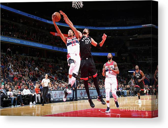 Nba Pro Basketball Canvas Print featuring the photograph Toronto Raptors V Washington Wizards by Ned Dishman
