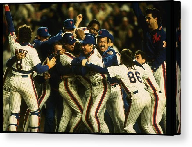 1980-1989 Canvas Print featuring the photograph 1986 World Series Mets by T.g. Higgins
