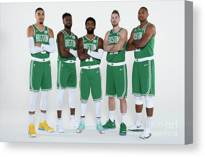 Media Day Canvas Print featuring the photograph 2018-19 Boston Celtics Media Day by Brian Babineau