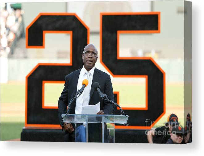 San Francisco Canvas Print featuring the photograph Barry Bonds San Francisco Giants Number by Lachlan Cunningham