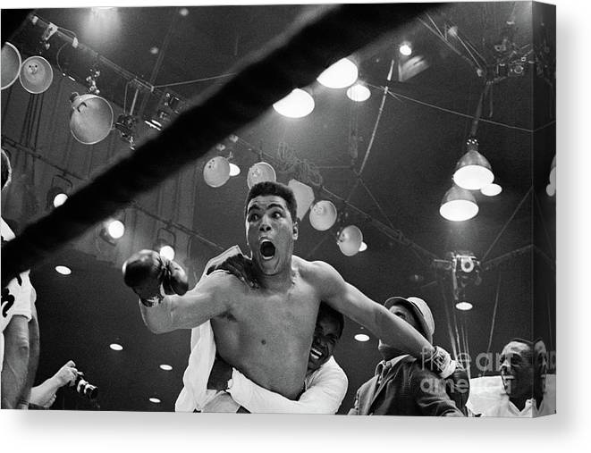 People Canvas Print featuring the photograph Cassius Clay After Winning Championship by Bettmann