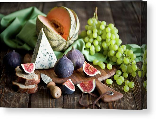 Large Group Of Objects Canvas Print featuring the photograph Cheese Board by Verdina Anna