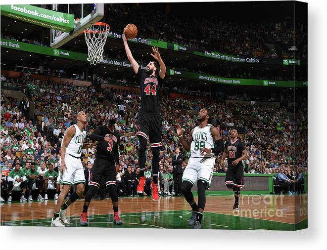 Playoffs Canvas Print featuring the photograph Chicago Bulls V Boston Celtics - Game by Brian Babineau