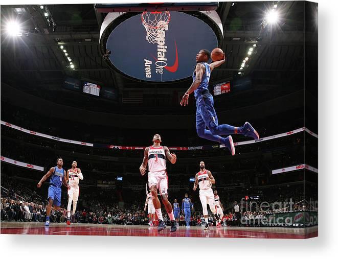 Nba Pro Basketball Canvas Print featuring the photograph Dallas Mavericks V Washington Wizards by Ned Dishman