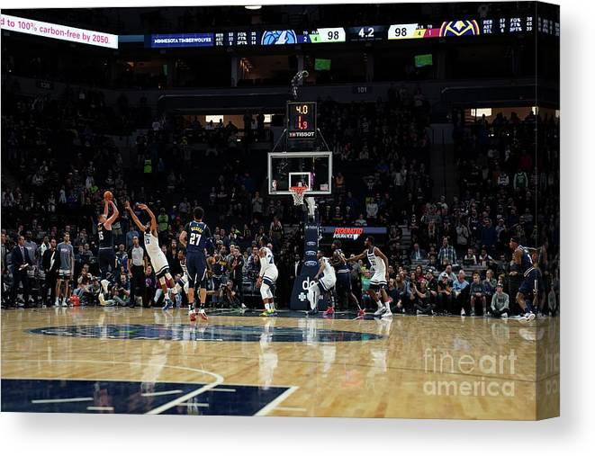 Nba Pro Basketball Canvas Print featuring the photograph Denver Nuggets V Minnesota Timberwolves by David Sherman