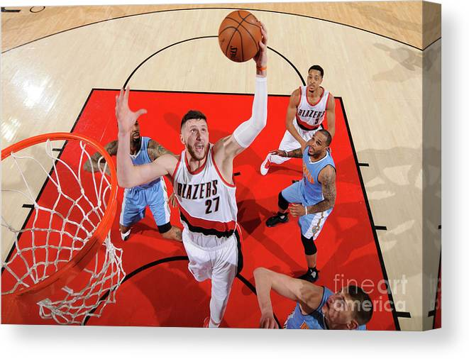 Jusuf Nurkić Canvas Print featuring the photograph Denver Nuggets V Portland Trail Blazers by Cameron Browne