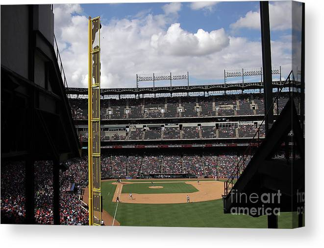 American League Baseball Canvas Print featuring the photograph Detroit Tigers V Texas Rangers by Ronald Martinez