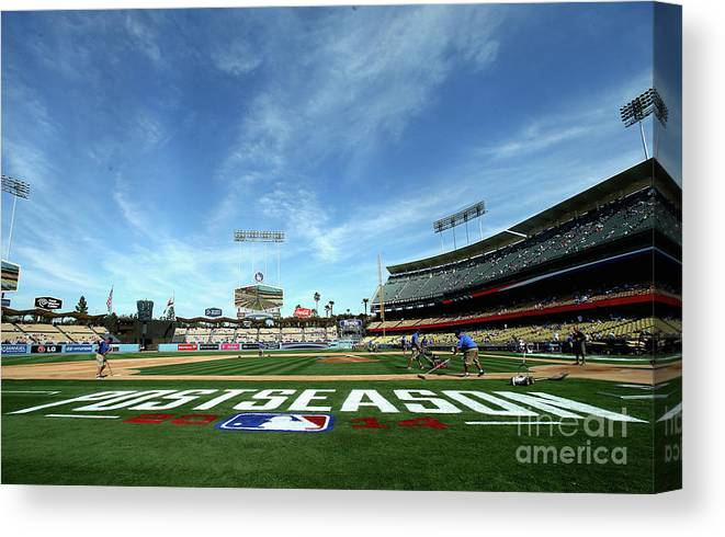 American League Baseball Canvas Print featuring the photograph Division Series - St Louis Cardinals V by Stephen Dunn