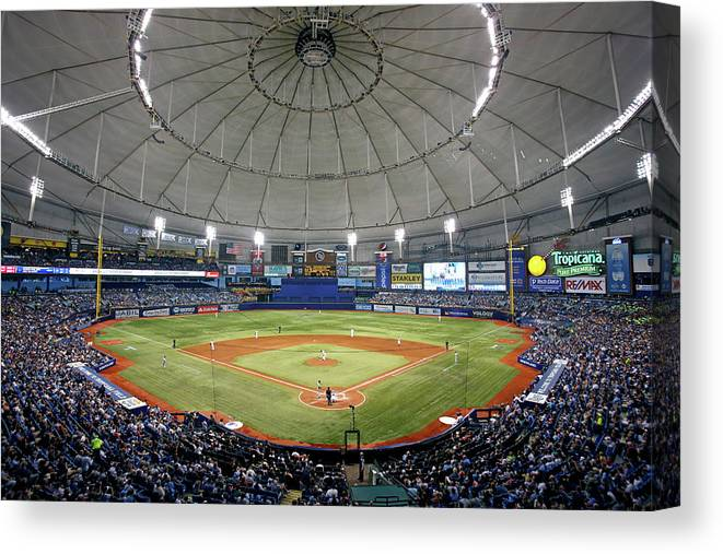 American League Baseball Canvas Print featuring the photograph New York Yankees V Tampa Bay Rays by Brian Blanco