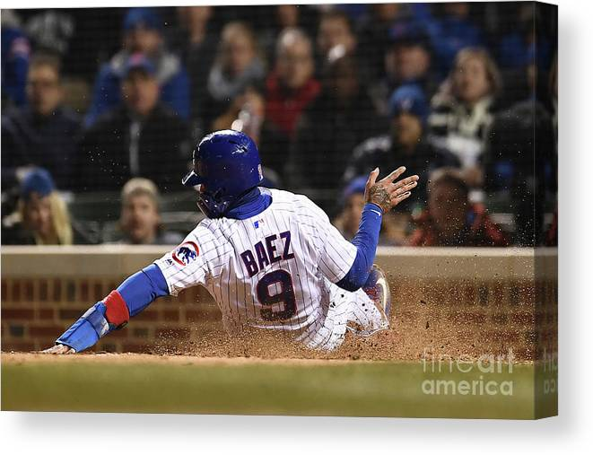 People Canvas Print featuring the photograph Pittsburgh Pirates V Chicago Cubs by Stacy Revere