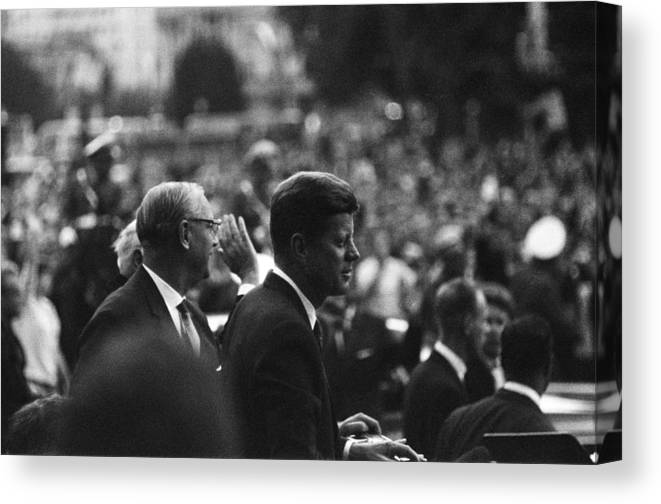 Crowd Canvas Print featuring the photograph President Kennedy Arrives In Berlin by Michael Ochs Archives
