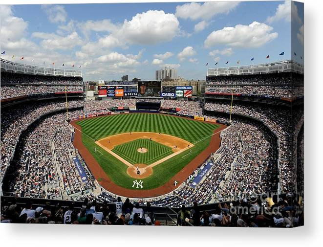 American League Baseball Canvas Print featuring the photograph Tampa Bay Rays V New York Yankees by Rob Tringali/sportschrome