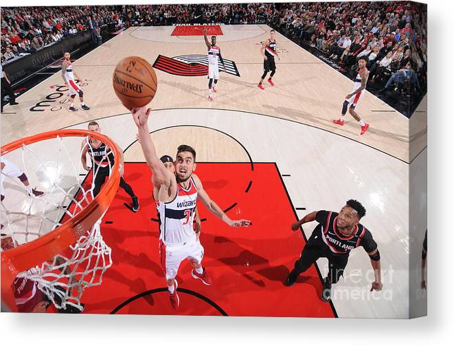Nba Pro Basketball Canvas Print featuring the photograph Washington Wizards V Portland Trail by Sam Forencich