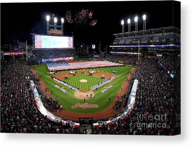 American League Baseball Canvas Print featuring the photograph World Series - Chicago Cubs V Cleveland by Jason Miller