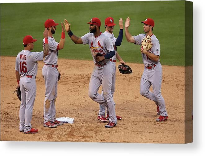 St. Louis Cardinals Canvas Print featuring the photograph St Louis Cardinals V Colorado Rockies by Doug Pensinger