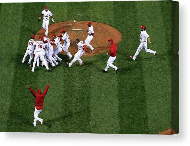St. Louis Cardinals Canvas Print featuring the photograph 2011 World Series Game 7 - Texas by Doug Pensinger