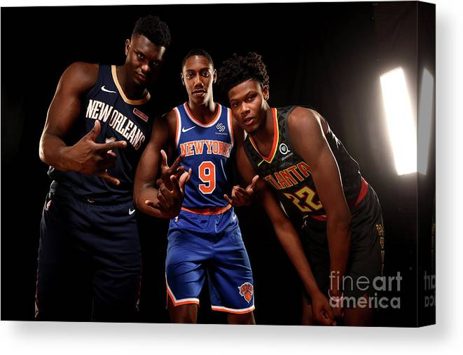 Nba Pro Basketball Canvas Print featuring the photograph 2019 Nba Rookie Photo Shoot by Brian Babineau