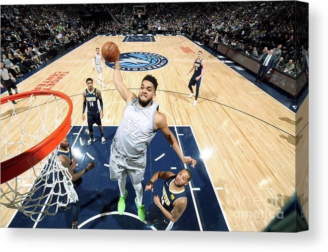 Nba Pro Basketball Canvas Print featuring the photograph Denver Nuggets V Minnesota Timberwolves by David Sherman