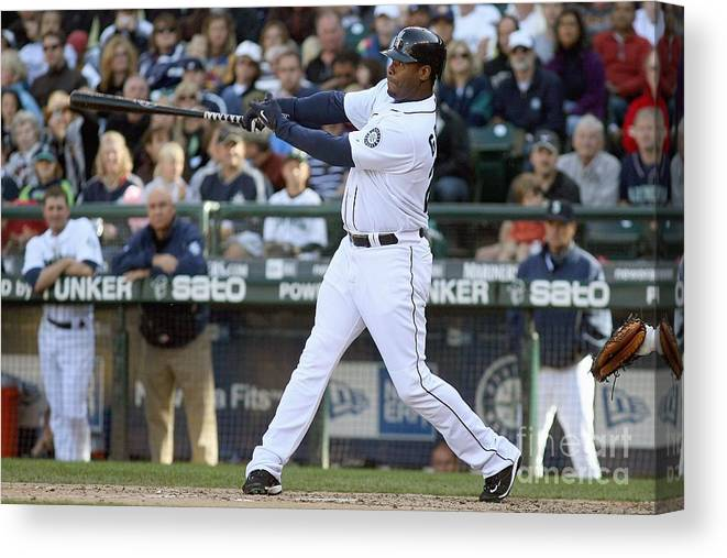 American League Baseball Canvas Print featuring the photograph New York Yankees V Seattle Mariners by Otto Greule Jr