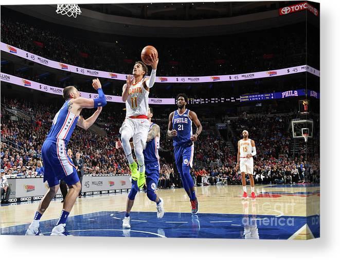 Nba Pro Basketball Canvas Print featuring the photograph Atlanta Hawks V Philadelphia 76ers by Jesse D. Garrabrant