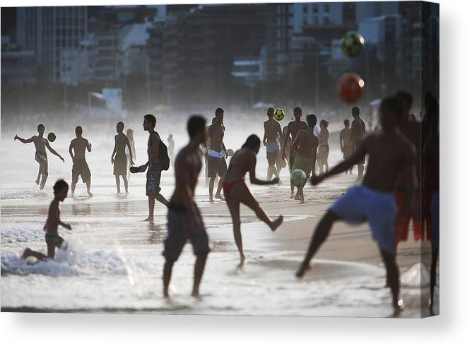 Horizontal Canvas Print featuring the photograph Brazils Various Forms Of Soccer by Mario Tama