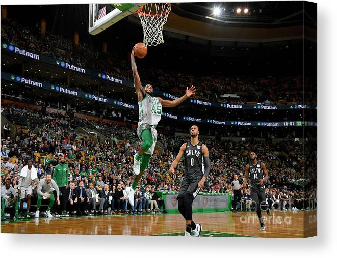 Basketball Team Canvas Print featuring the photograph Brooklyn Nets V Boston Celtics by Brian Babineau