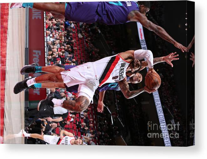 Nba Pro Basketball Canvas Print featuring the photograph Charlotte Hornets V Portland Trail by Sam Forencich