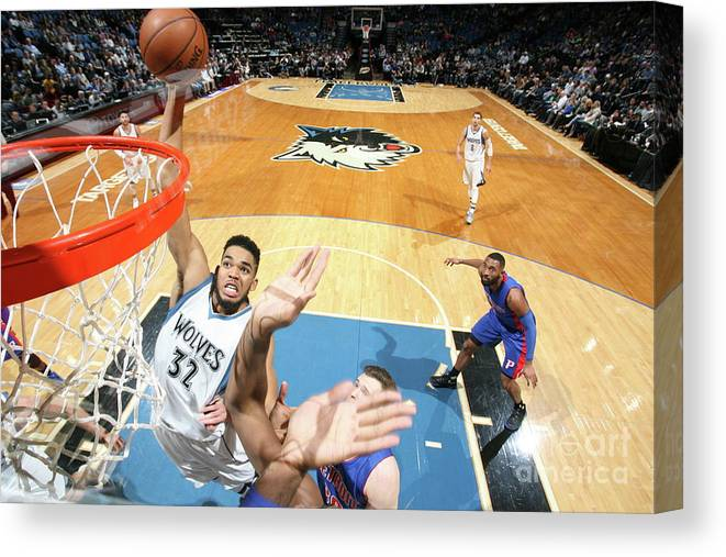 Nba Pro Basketball Canvas Print featuring the photograph Detroit Pistons V Minnesota Timberwolves by David Sherman