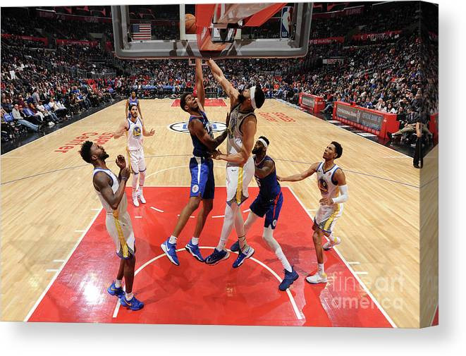 Nba Pro Basketball Canvas Print featuring the photograph Golden State Warriors V La Clippers by Andrew D. Bernstein