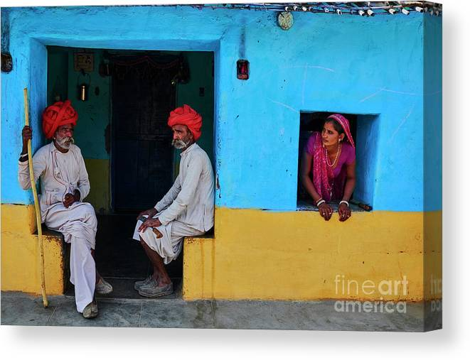 Walking Cane Canvas Print featuring the photograph India, Rajasthan, Rabari Village by Tuul & Bruno Morandi