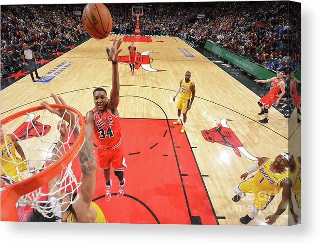 Nba Pro Basketball Canvas Print featuring the photograph Los Angeles Lakers V Chicago Bulls by Jesse D. Garrabrant