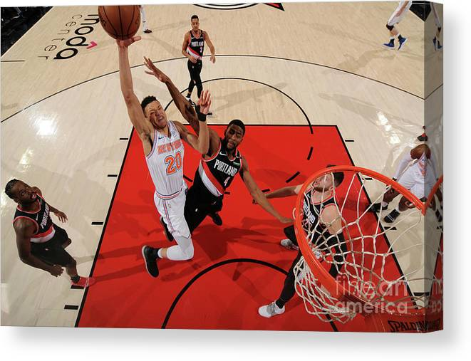 Nba Pro Basketball Canvas Print featuring the photograph New York Knicks V. Trail Blazers by Cameron Browne