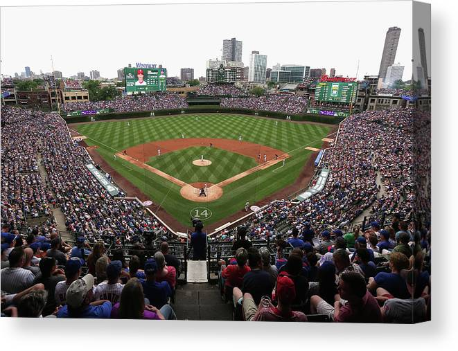 American League Baseball Canvas Print featuring the photograph Philadelphia Phillies V Chicago Cubs by Jonathan Daniel