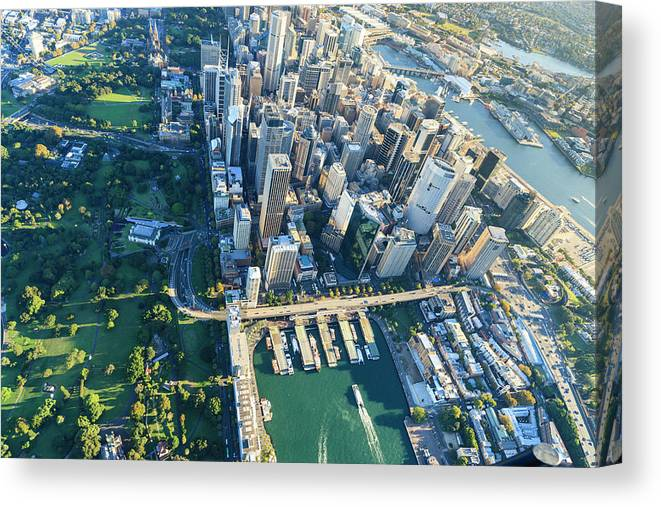 Shadow Canvas Print featuring the photograph Sydney Downtown - Aerial View by Btrenkel
