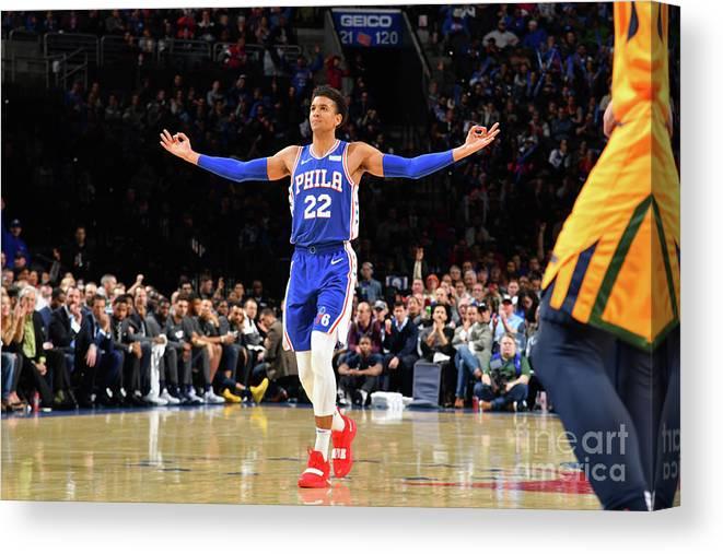Nba Pro Basketball Canvas Print featuring the photograph Utah Jazz V Philadelphia 76ers by Jesse D. Garrabrant