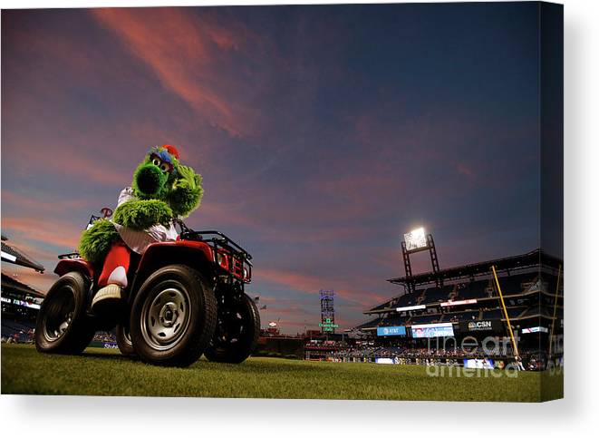 American League Baseball Canvas Print featuring the photograph Washington Nationals V Philadelphia by Rich Schultz