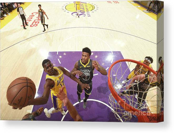 Nba Pro Basketball Canvas Print featuring the photograph Golden State Warriors V Los Angeles by Andrew D. Bernstein