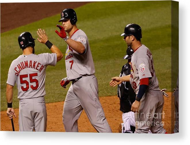 American League Baseball Canvas Print featuring the photograph St Louis Cardinals V Colorado Rockies by Doug Pensinger