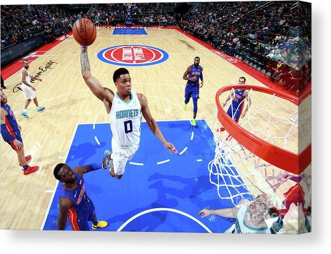 Nba Pro Basketball Canvas Print featuring the photograph Charlotte Hornets V Detroit Pistons by Brian Sevald