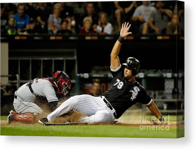 People Canvas Print featuring the photograph Cleveland Indians V Chicago White Sox by Jon Durr