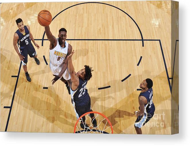 Nba Pro Basketball Canvas Print featuring the photograph Memphis Grizzlies V Denver Nuggets by Garrett Ellwood