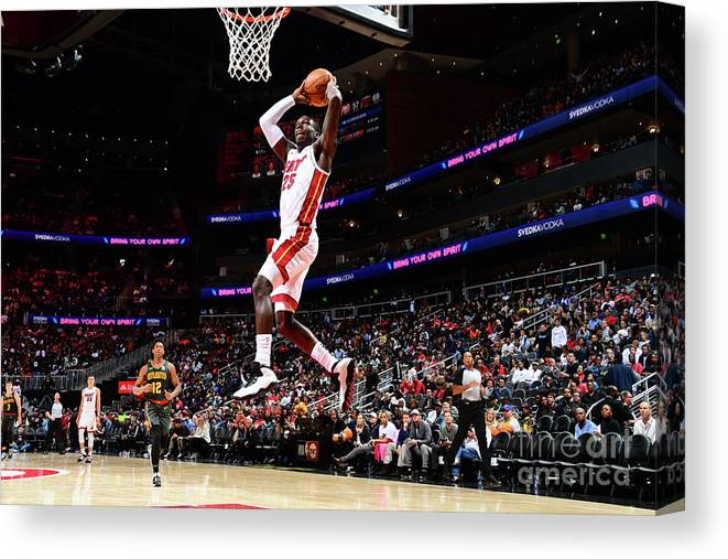 Atlanta Canvas Print featuring the photograph Miami Heat V Atlanta Hawks by Scott Cunningham