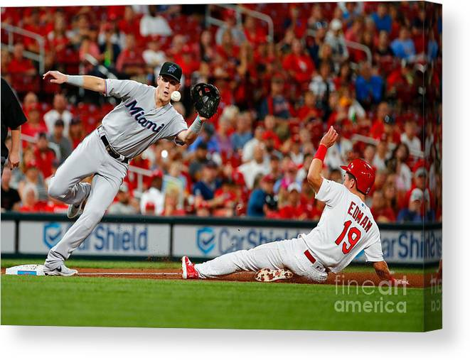 St. Louis Cardinals Canvas Print featuring the photograph Miami Marlins V St Louis Cardinals by Dilip Vishwanat