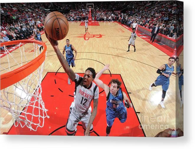 Nba Pro Basketball Canvas Print featuring the photograph Minnesota Timberwolves V Houston Rockets by Bill Baptist