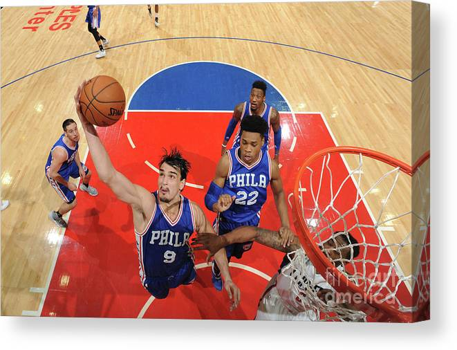 Nba Pro Basketball Canvas Print featuring the photograph Philadelphia 76ers V La Clippers by Andrew D. Bernstein