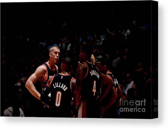 Nba Pro Basketball Canvas Print featuring the photograph Portland Trail Blazers V Denver Nuggets by Bart Young