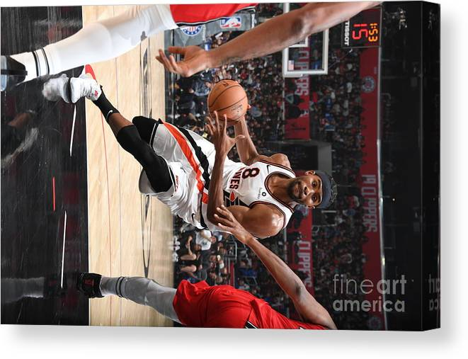 Moe Harkless Canvas Print featuring the photograph Portland Trail Blazers V La Clippers by Andrew D. Bernstein