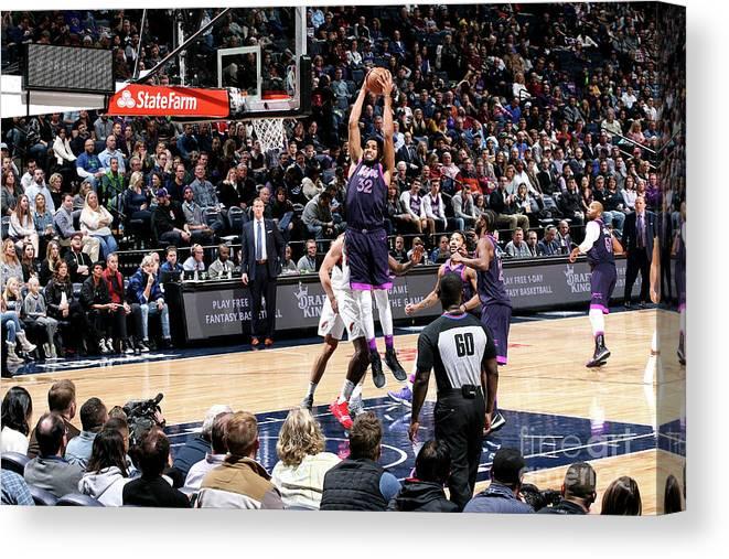 Nba Pro Basketball Canvas Print featuring the photograph Portland Trail Blazers V Minnesota by David Sherman